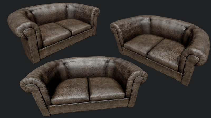 Old Leather Couch | Sansar Store