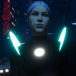 Female go-GLOW Blue & White Futuristic Disks