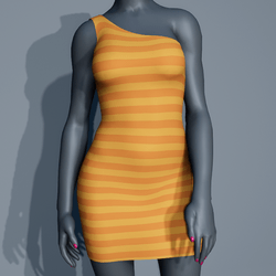 One Shoulder Striped Dress - Yellow