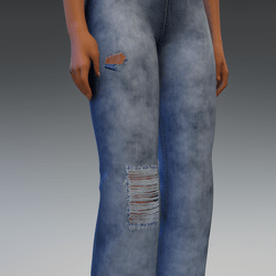 Denim Pants with Cuts