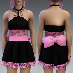 Black&Pink Cute Partydress with a Bow and Lace