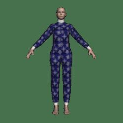 Female Bodysuit Jammies (Winterflakes Blue)