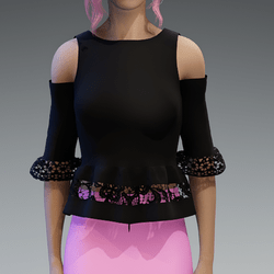 Elegant Top with Lace in Black V2