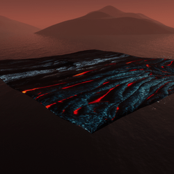 Burning ground hills Textured&sculpted platform
