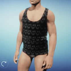 Skull Texture Muscle Shirt - Male