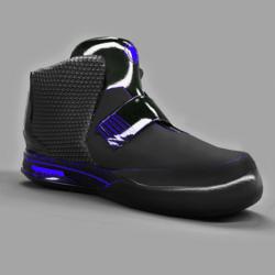 Women's Sneakers Shoes Black Neon Blue