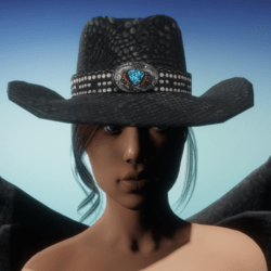 Cowgirl Hat - Black Snakeskin
