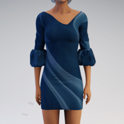 Bell-sleeve Dress - Teal Mod