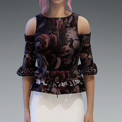 Elegant Top with Lace in Black V3 with Roses3 Pattern