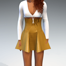 High Waisted Panel Mini Skirt - Gold Leather