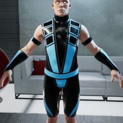 Neon Blue and Black Ninja Bodysuit