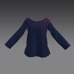 Piped Longsleeved Top Red and Navy Dots