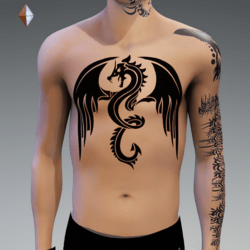 DRAGON 3 TATTOO CHEST MALE