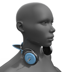 Headphones Black-Blue (Neck)