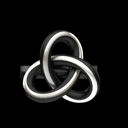 Knot Ring - Black and Silver