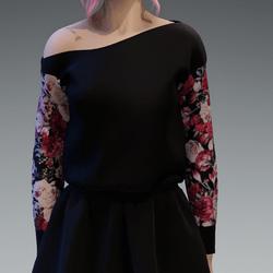 Cozy Pullover oneshoulderfree Roses5 Pattern Sleaves