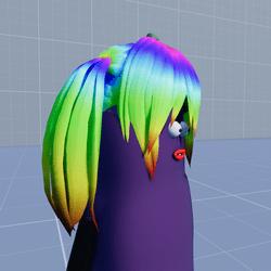 Aubergine Hair Pigtails Rainbow