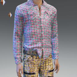 Pink Blue Stressed Plaid Shirt - Male