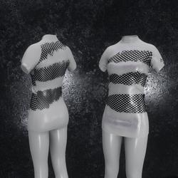 Dress Mila Latex Holes gray