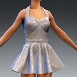 Latex Rubber Dress Short white