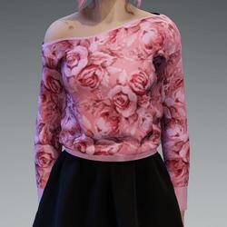 Pastel Pink Roses2 Pattern Pullover oneshoulderfree