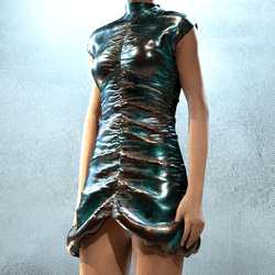 Ruffle Party Dress Ancient Bronz Statue