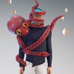 octopus on face - red