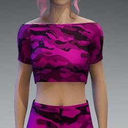 Basic Camouflage Pink Crop Top
