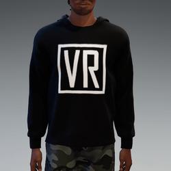 Black VR Hooded Pullover for Men