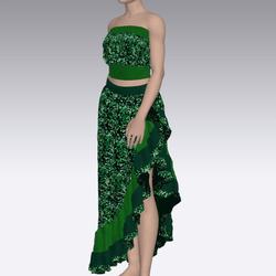 Green Sequin Design Dress