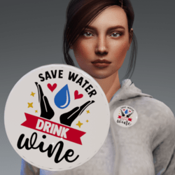 Flair - Button accessory - Save Water Drink Wine