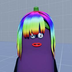 Aubergine Hair Short Rainbow