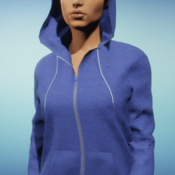 Dynamic Women's Hoodie with Blue Cotton Texture