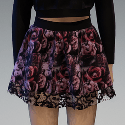 """Mini """"Flutter"""" Skirt with Lace Application and Roses3 Pattern"""