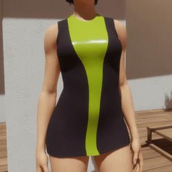 TKA-Purple and neon green mini dress