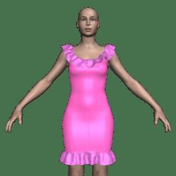 Mini Dress w/Single Ruffles (Pink)