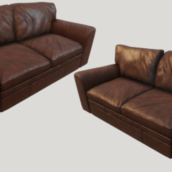Old Cinnamon Leather Couch - Dirty