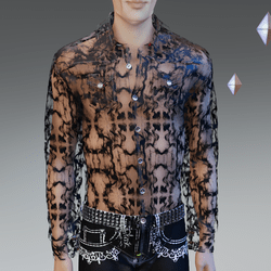 Black Infinity See-Trough Shirt - Male