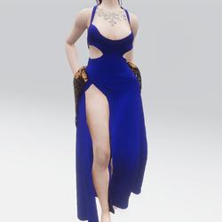 Flowing Blue Open Legged Cut Gown