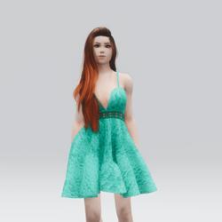Kawaii Teal Laced Mini Summer Dress