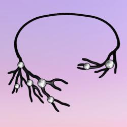 Bare Tree Choker wPearls Black-White