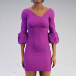 Bell-sleeve Dress - Fushia Rayon