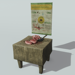 Butcher Block with Meat and Cleaver