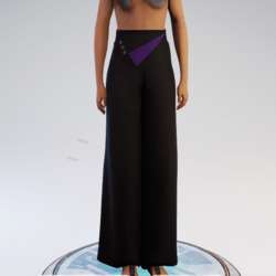 Palazzo Pants - Black and Purple Polyester
