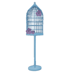 Cage with flowers on stand