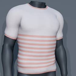 Men - Stripes Tee-Shirt - Orange Coral