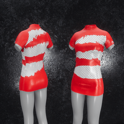 Dress Mila Latex Holes red
