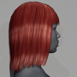 Hair - Middle Long with Fringe - Red Cherry