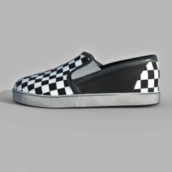 Slip-On Shoes Checkerboard Black White Female