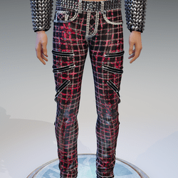 Punk Rock Chaos Red-Bloody Disruptor Plaid Jeans - Male
